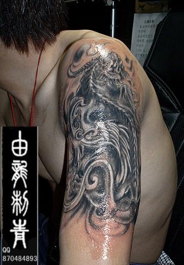 失败纹身修改 貔貅神兽有招财进宝的意思   高清图片