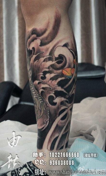 包小腿纹身